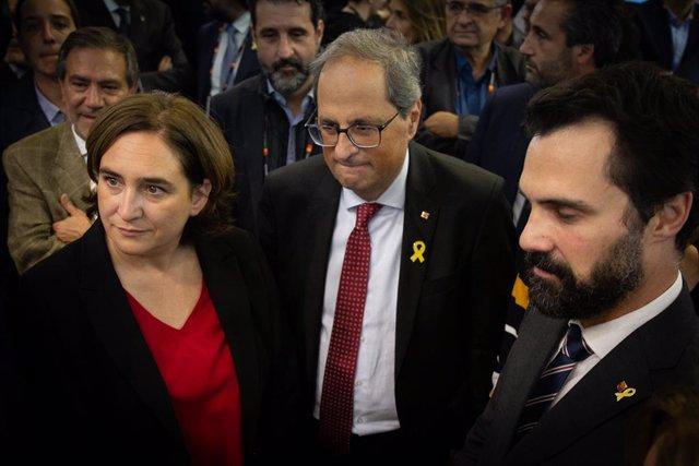 Ada Colau, Quim Torra i Roger Torrent en una imatge d'arxiu