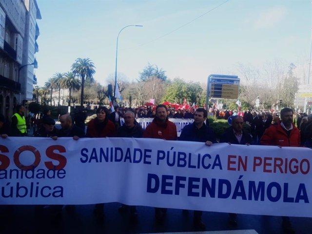 Manifestación sanidade Santiago de Compostela