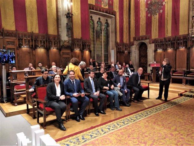 Alcaldessa Ada Colau, David Saldoni (ACM), alcalde Albert Batalla