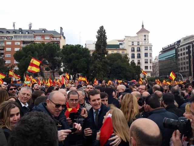 Concentració a la Plaça de Colón (Madrid) sota el lema 'Per una Espanya unida'