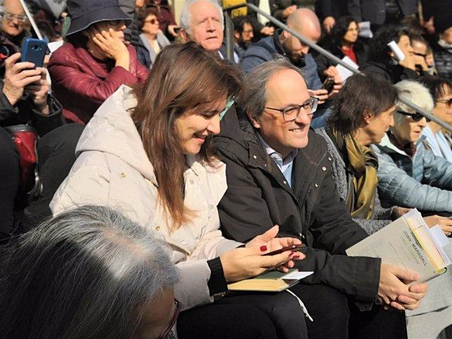 Consellera de la Generalitat Laura Borrs, president Quim Torra