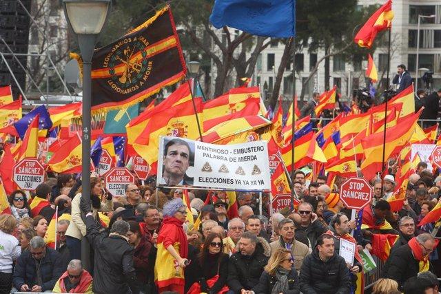 Concentració a la Plaa de Colón (Madrid) sota el lema 'Per una Espanya unida'