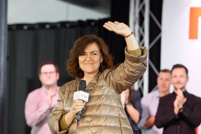 Intervención de la presidenta del Gobierno, Carmen Calvo, en un acto del PSIB-PS