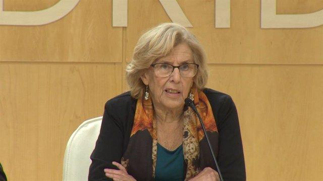 Roda de premsa de l'alcaldessa de Madrid, Manuela Carmena