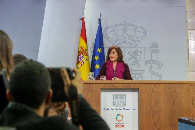 Comparecencia de la vicepresidenta del Gobierno, Carmen Calvo, para explicar la