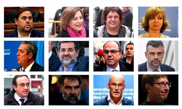 Muntatge fotogràfic dels líders independentistes que seran jutjats