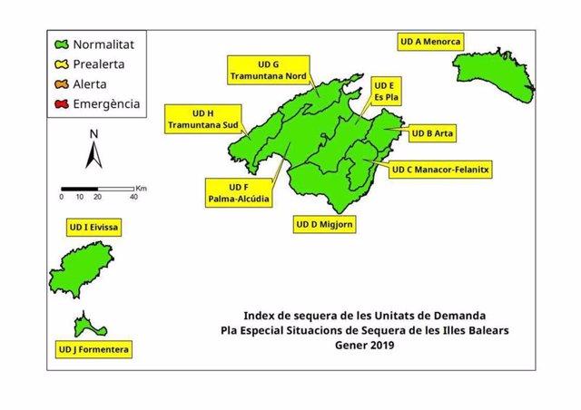 Mapa índice de sequía Baleares enero 2019