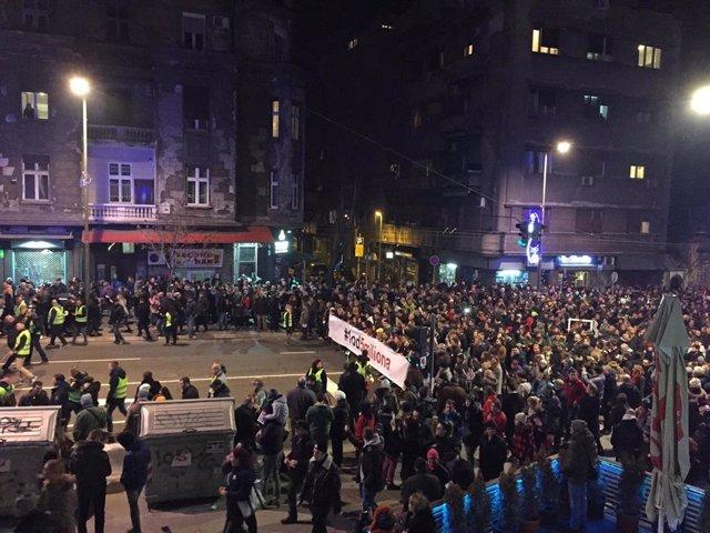 Manifestación contra el Gobierno en Belgrado el 9 de febrero