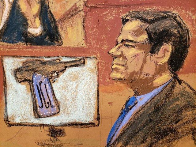 "Accused Mexican drug lord Joaquin ""El Chapo"" Guzman is seen with a handgun on di"