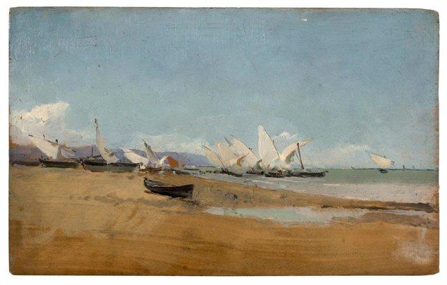 Velas en la playa de Valencia, 1886-1889. Museo Sorolla, inv. 228