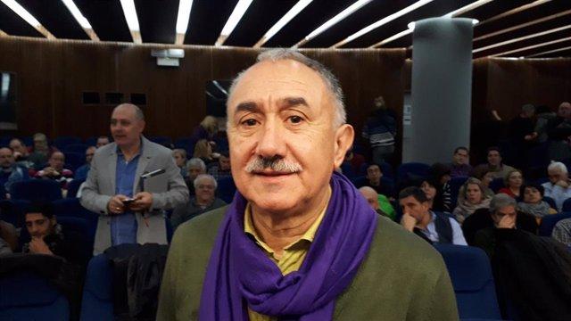 Álvarez (UGT) insiste en pedir a los catalanes que tramiten los PGE para impulsar el cambio y