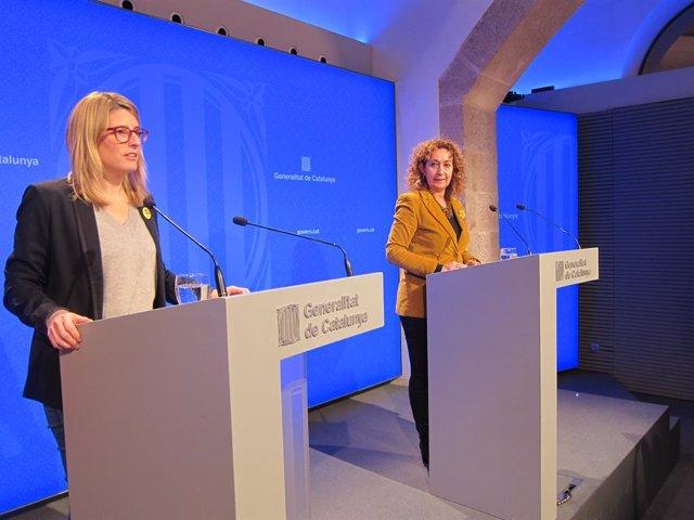 La consellera de Presidència, Elsa Artadi, i la consellera de Justícia, Ester Ca
