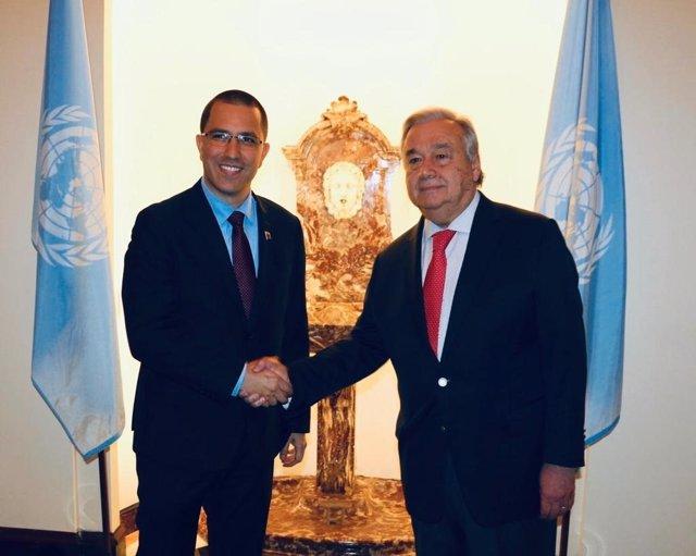 Jorge Arreaza se reúne con el secregario general de la ONU, António Guterres