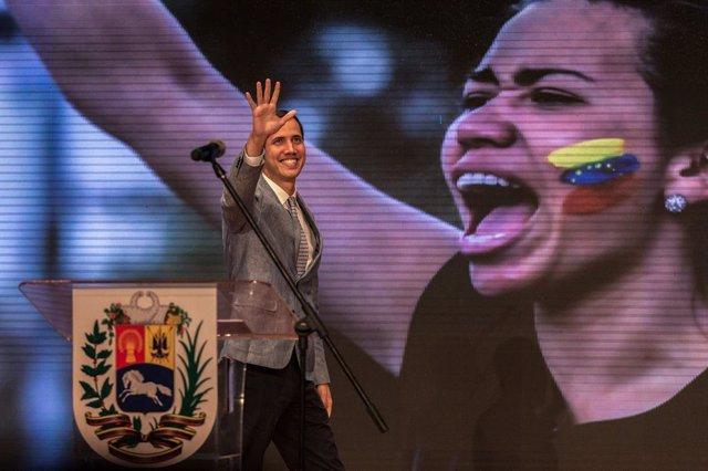 Juan Guaido en un discurso en Caracas