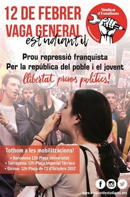 Cartell de la vaga d'estudiants convocada pel Sindicat d'Estudiants