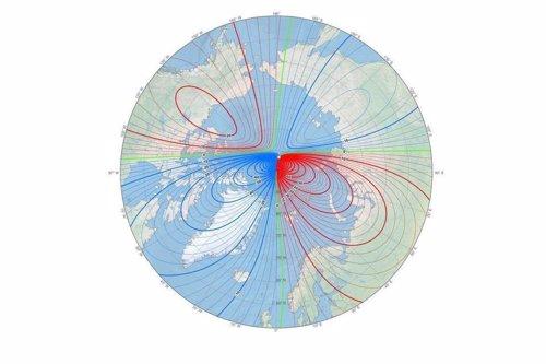 Localización del polo norte magnético