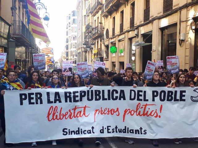 Manifestació del Sindicat d'Estudiants a Barcelona