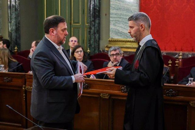 El líder d'ERC Oriol Junqueras durant la sessió inaugural del judici de l'1-O.