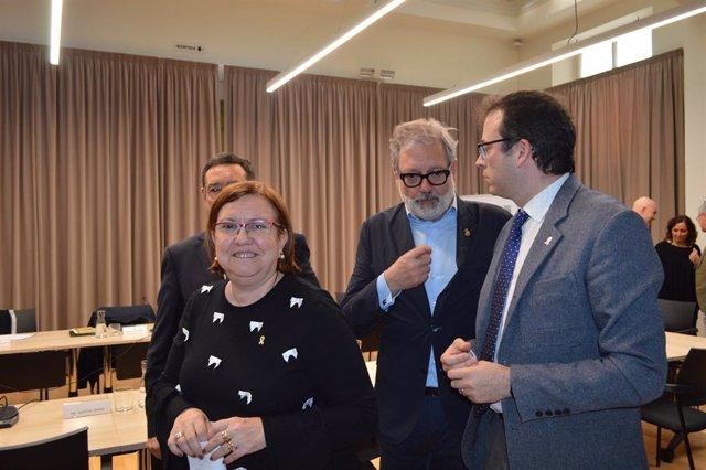 Rosa Maria Perelló juntament amb Ramon Farré, Fèlix Larrosa i Marc Solsona