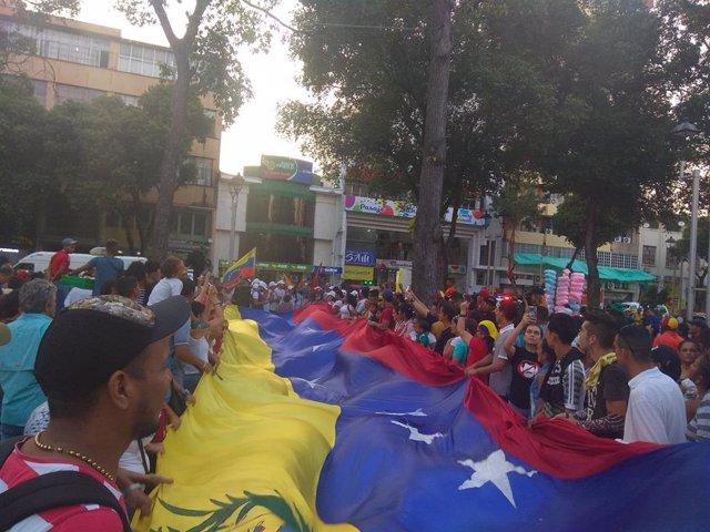 Manifestación opositores venezolanos en Colombia
