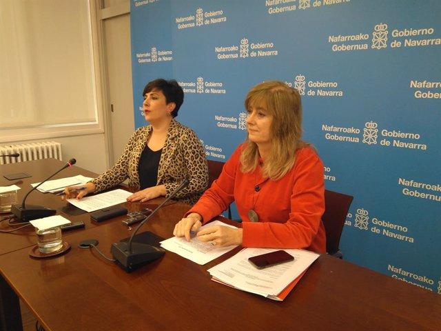 María Solana i Ana Ollo en la roda de premsa posterior a la sessió de Govern