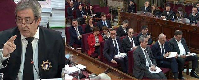 Muntatge fotogràfic del fiscal Javier Zaragoza i els líders independentistes