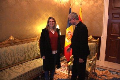 La consellera de la Presidència es reuneix amb l'arquebisbe d'Urgell, Joan-Enric Vives, al Palau Episcopal