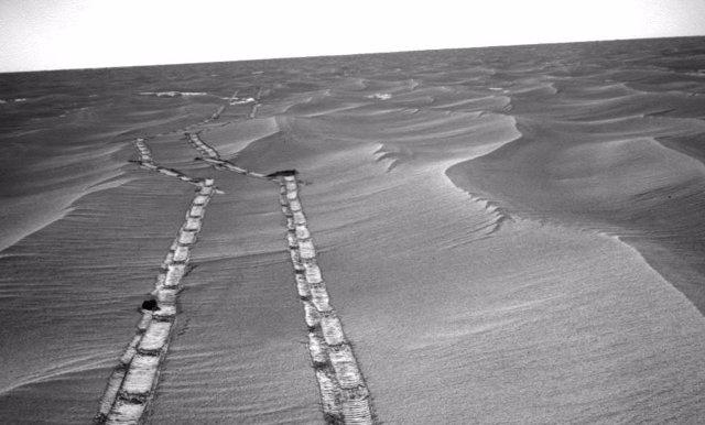 Huellas del rover Opportunity