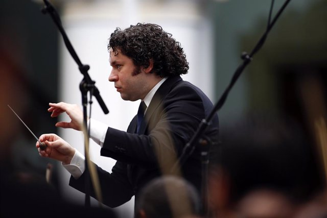 Venezuela's classical music superstar Gustavo Dudamel conducts a concert at the