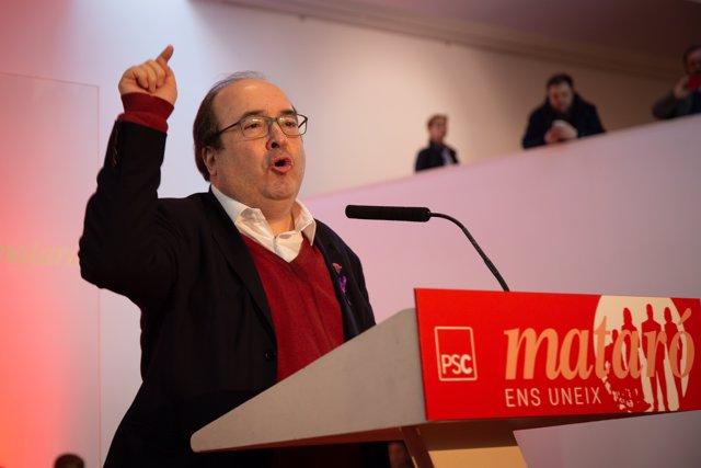 Presentación del socialista David Bote a la reelección de la alcaldía de Mataró (Cataluña)