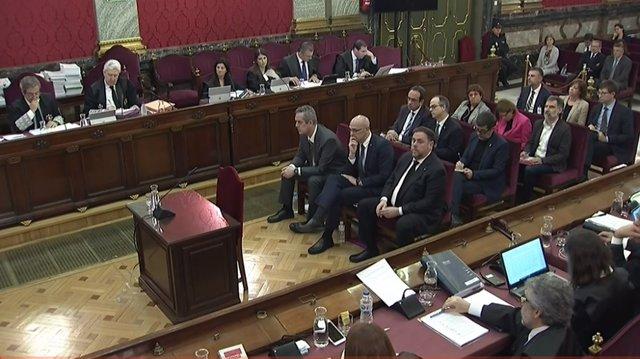 Els líders independentistes al banc dels acusats durant la tercera jornada del j