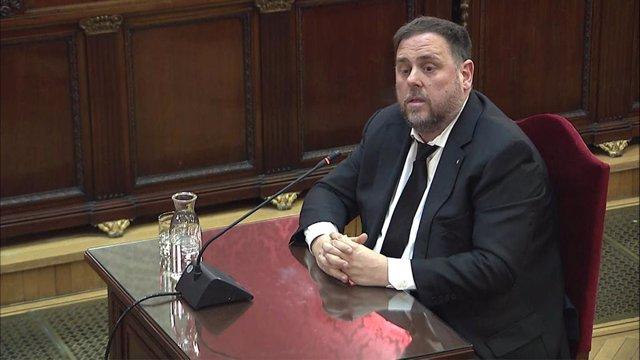 L'exvicepresident de la Generalitat, Oriol Junqueras, durant la seva declaració