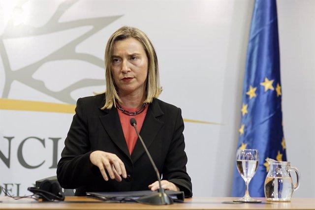 Mogherini en una imagen de archivo en Montevideo