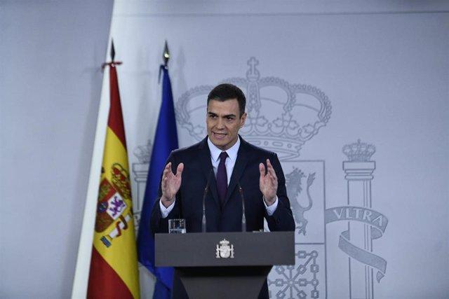 Declaración institucional de Pedro Sánchez para comunicar la fecha de las próxim