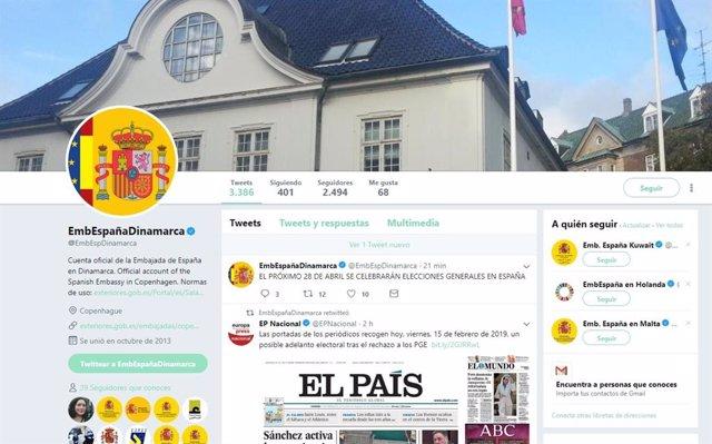 Captura del mensaje de Twitter en el que la Embajada de España en Dinamarca anun