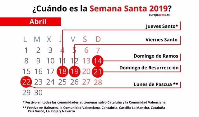 Calendario Festivo.Cuando Es Semana Santa 2019 Calendario Y Fechas