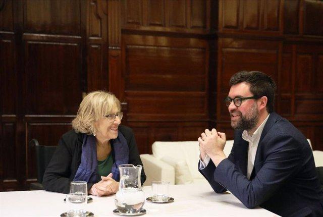 L'alcalde de Palma, Antoni Noguera, i alcaldessa de Madrid, Manuela Carmena
