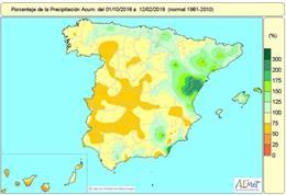 Balance hídrico. España alcanza un 8% de déficit de lluvias