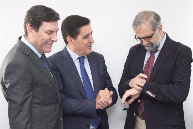 Fernández Carriedo, primero por la izquierda, en Soria sobre Fondos de Cohesión.