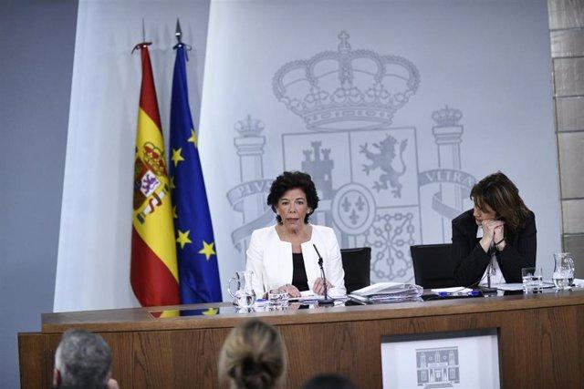 Rueda de prensa posterior al Consejo de Ministros en el que se decidió la convoc