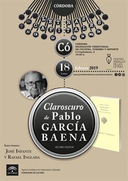 Cartel de la presentación de 'Claroscuro' de Pablo García Baena