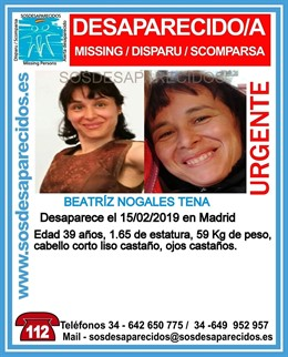 Beatriz Nogales Tena, desaparecida en Madrid desde el 14 de febrero