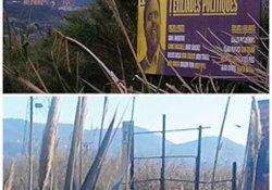 Destrossen una tanca publicitària que reclamava la llibertat dels líders independentistes a Sant Vicenç dels Horts (ACN)