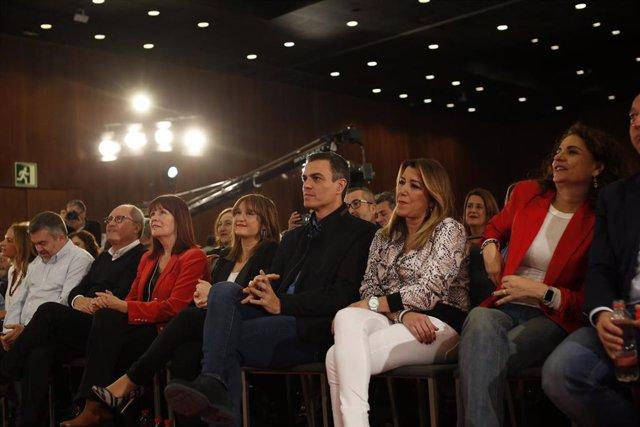 Pedro Sánchez en el acto de presentación de la candidatura de Juan Espadas a la