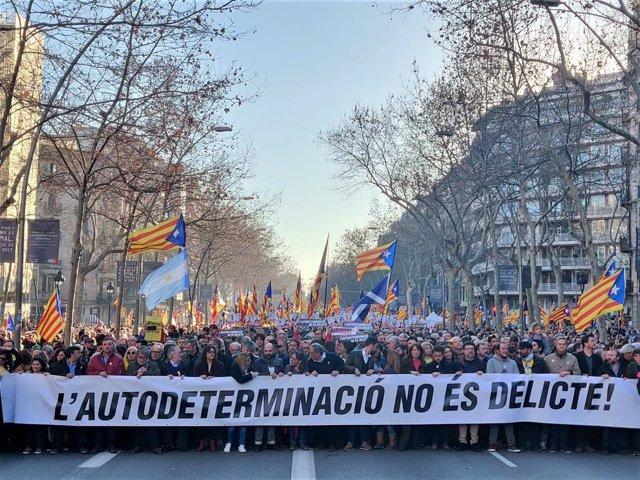 Manifestación contra el juicio del 1-O en la semana que empieza la vista
