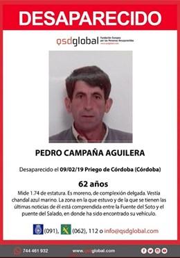 Cartel del vecino desaparecido en Priego de Córdoba