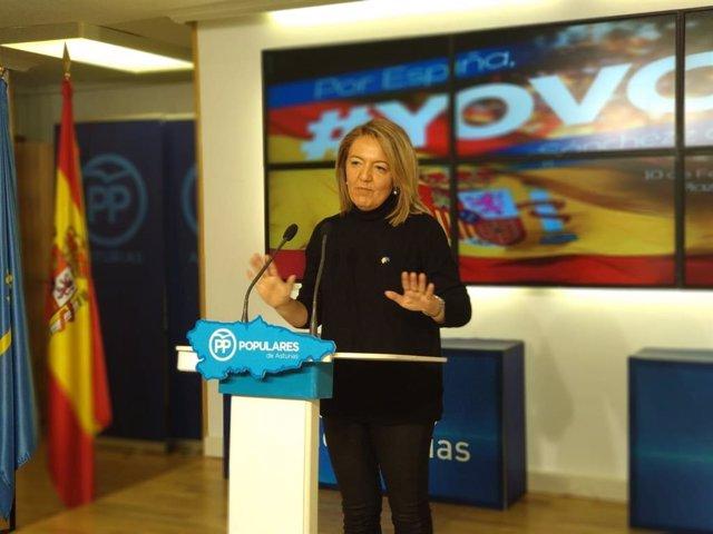 La candidata del PP a la Presidencia del Principado, Teresa Mallada, en rueda de