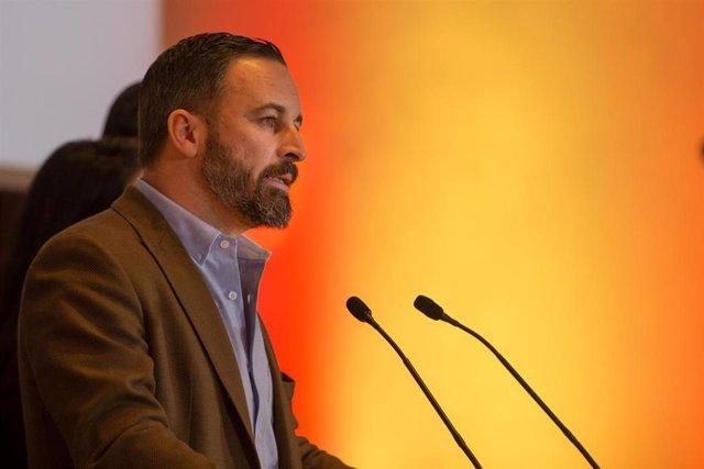 Rueda de prensa del presidente de VOX, Santiago Abascal, en una imagen de archiv