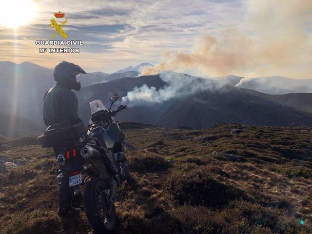 Un agente del SEPRONA en labores de vigilancia de incendios forestales