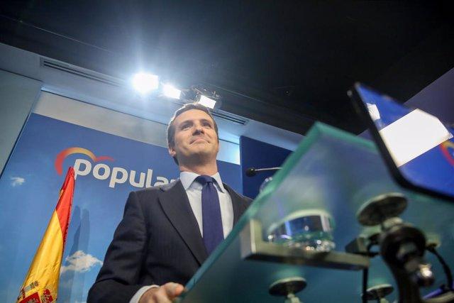 Declaraciones del líder del PP, Pablo Casado, tras la convocatoria del Gobierno